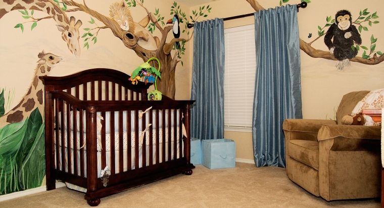 outstanding-beige-baby-boys-room-paint-with-brown-wooden-crib-and-brown-sofa-decorated-with-3d-picture-of-plant-and-animals-set-near-blue-curtain